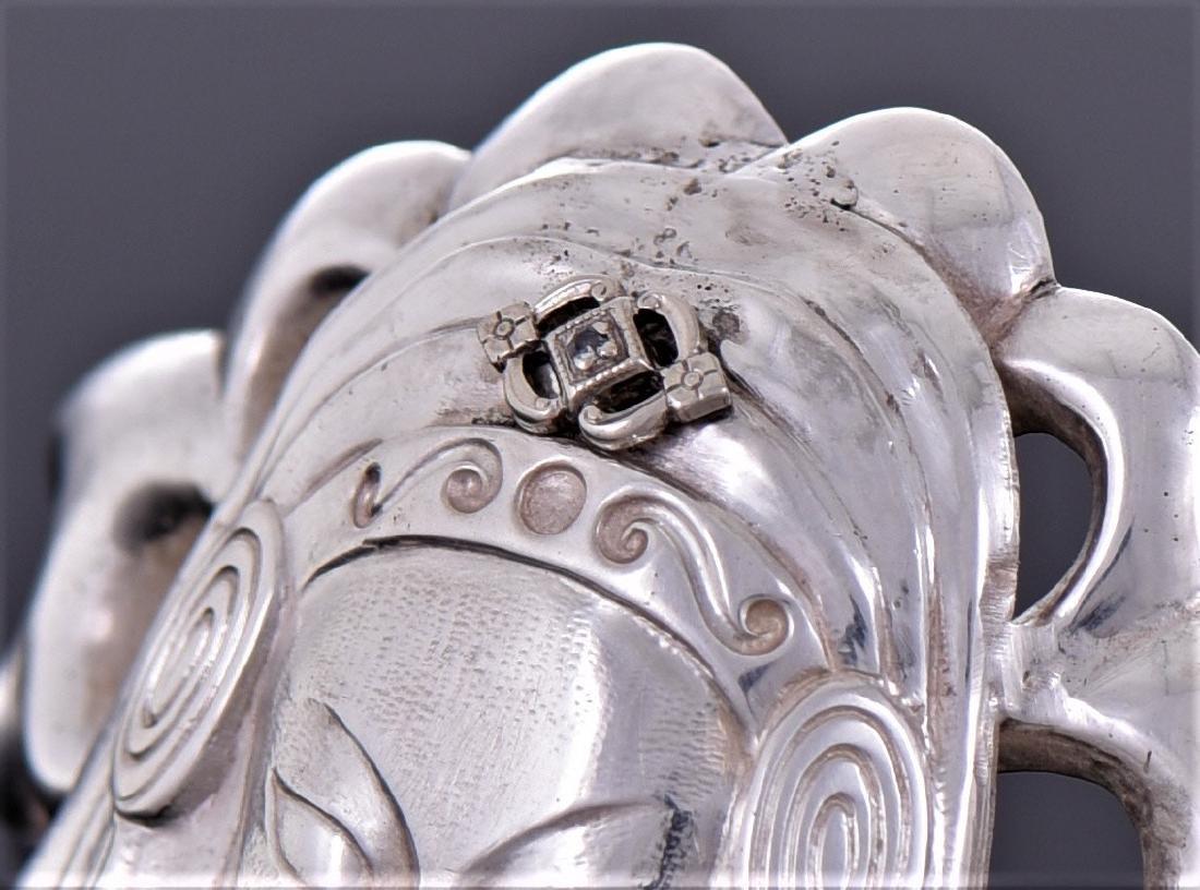 Art Deco Diamond Sterling Silver Cuff Bracelet of - 4