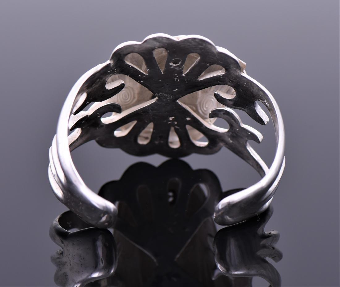 Art Deco Diamond Sterling Silver Cuff Bracelet of - 6