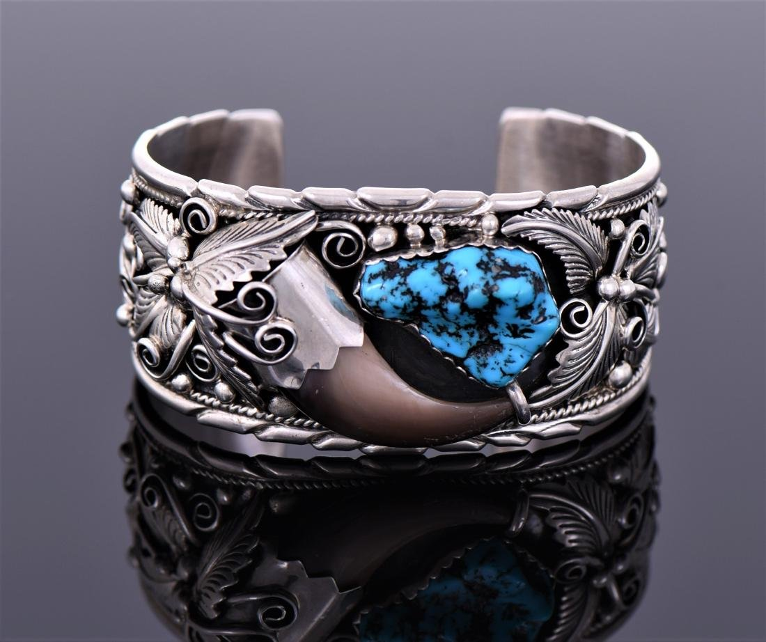 Navajo Bear Claw And South West Blue Turquoise