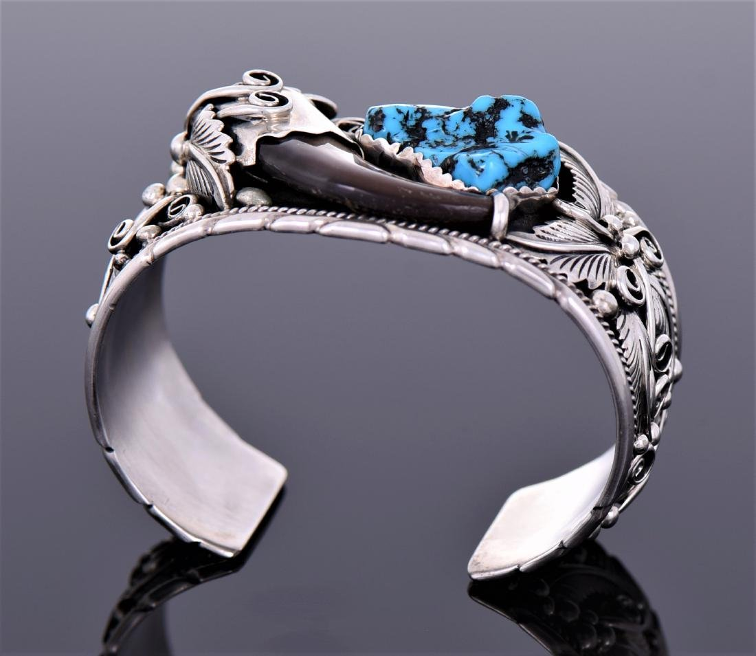 Navajo Bear Claw And South West Blue Turquoise - 5