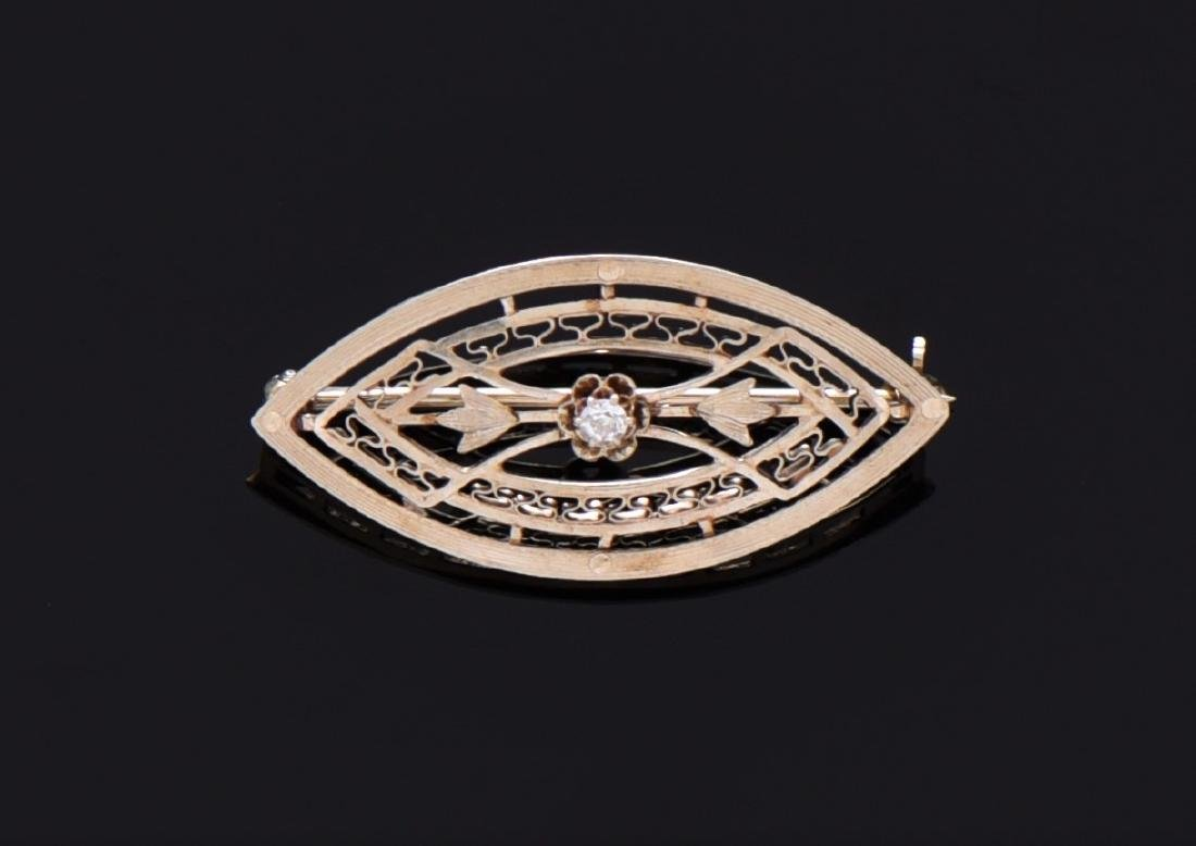 Art Deco 14K Gold And Natural Diamond Brooch. 14K