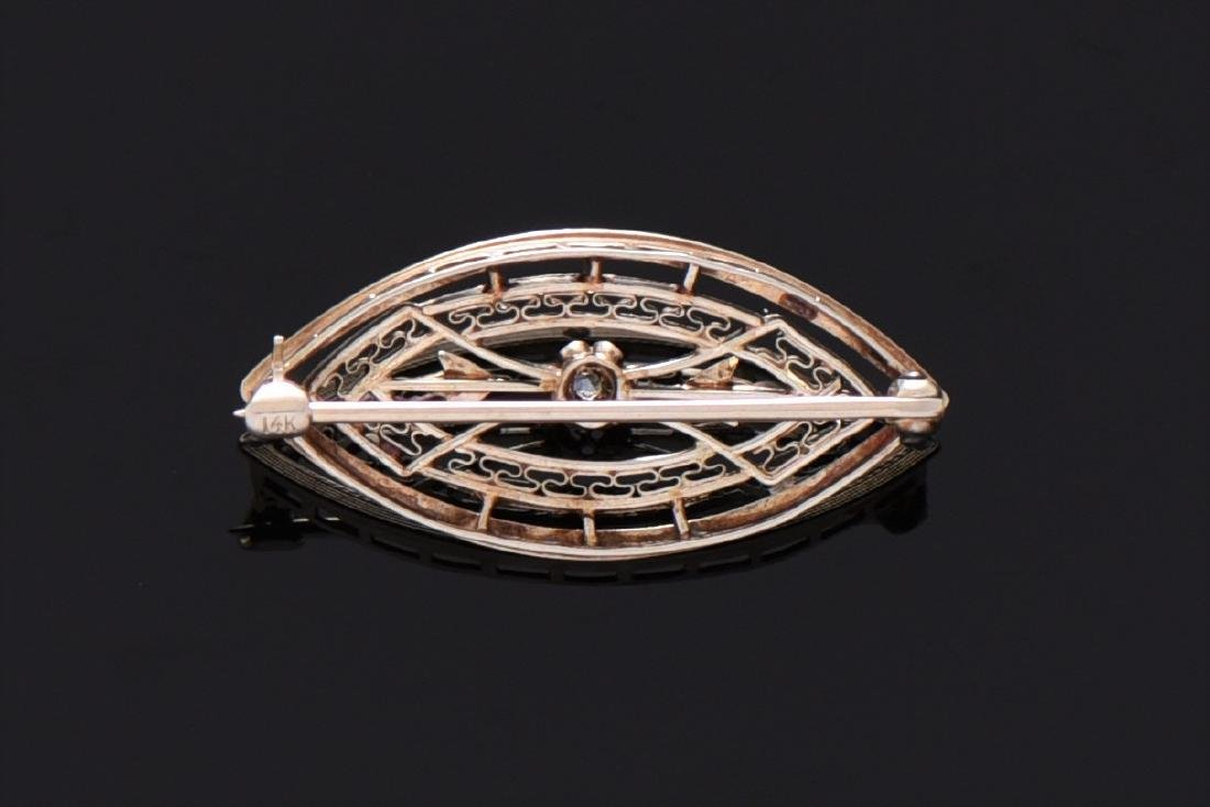 Art Deco 14K Gold And Natural Diamond Brooch. 14K - 2
