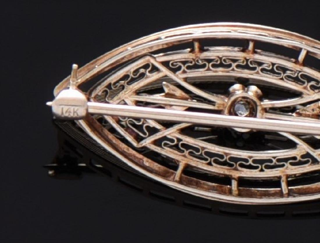 Art Deco 14K Gold And Natural Diamond Brooch. 14K - 3