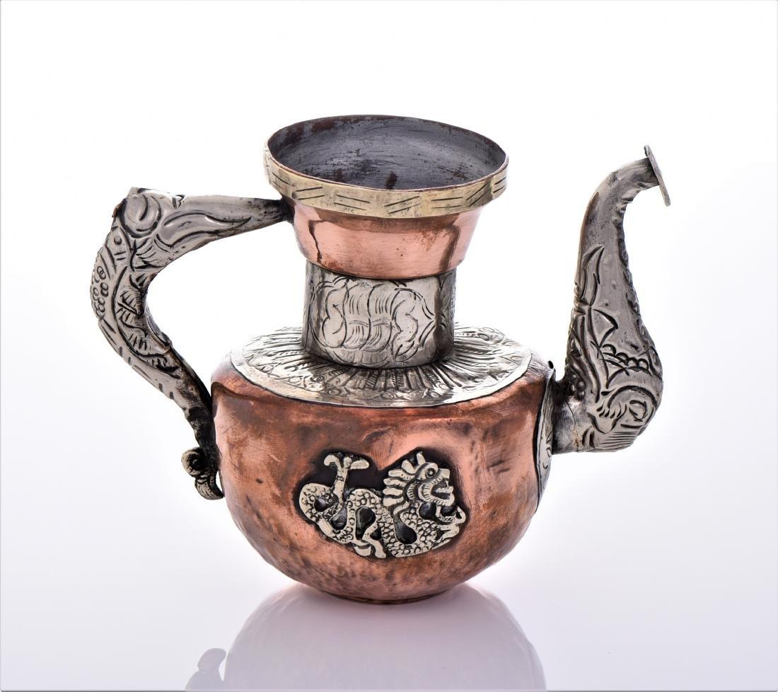 Antique Tibetan Silver Copper And Brass Dragon Tea