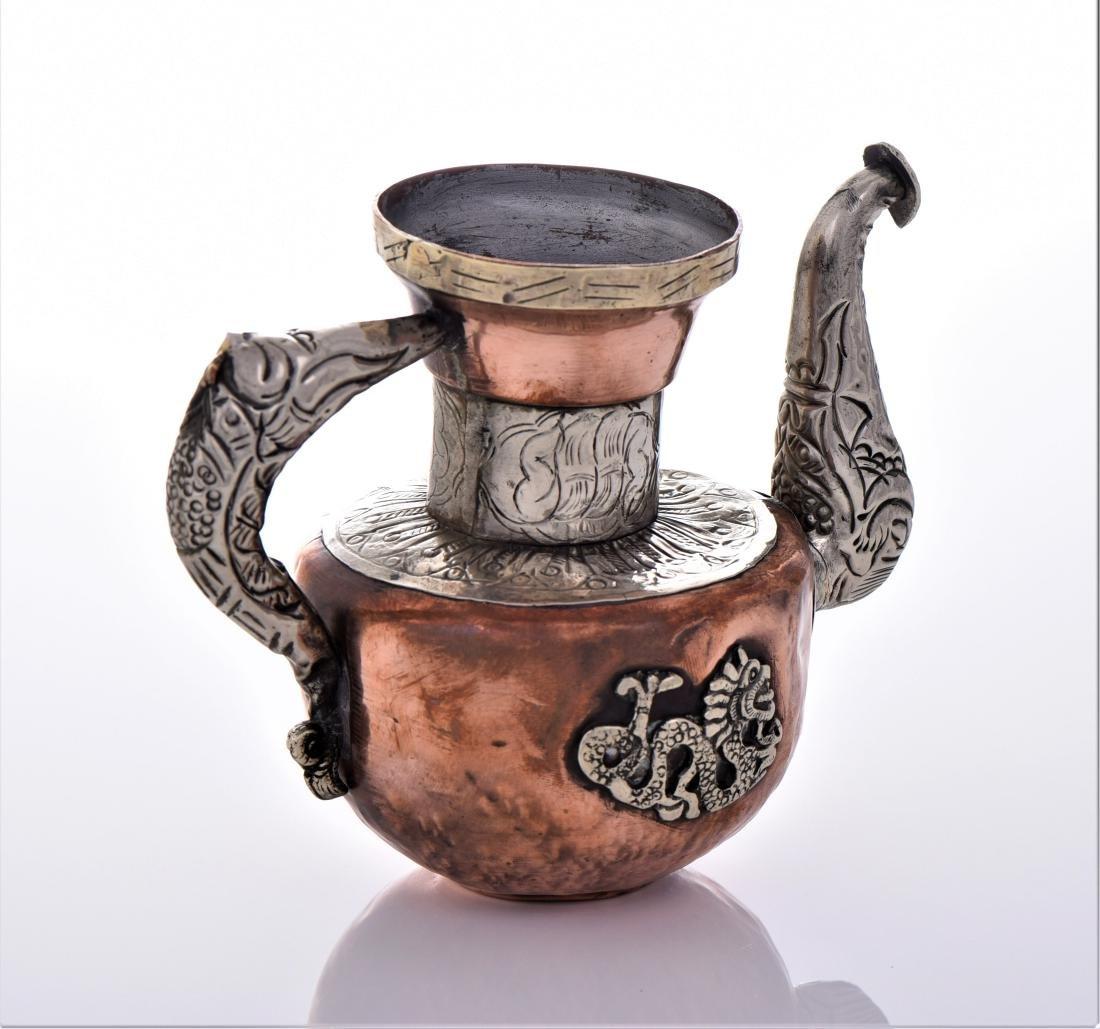 Antique Tibetan Silver Copper And Brass Dragon Tea - 5