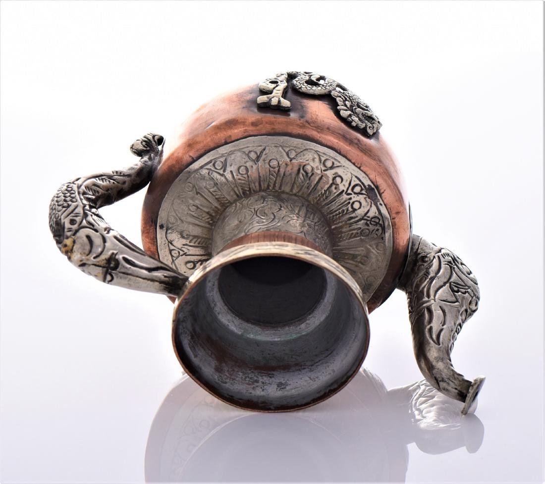 Antique Tibetan Silver Copper And Brass Dragon Tea - 7