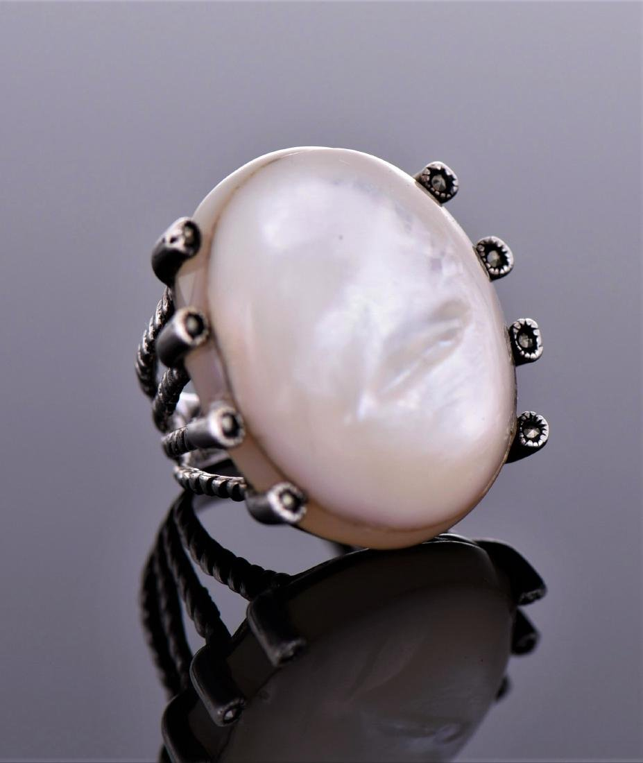 Large Mother of Pearl And Marcasite Sterling