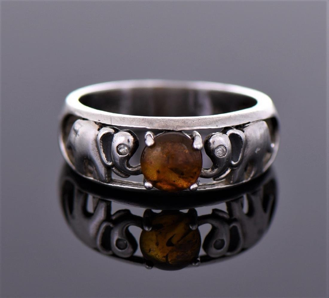 Natural Amber Sterling Silver Ring, Marked NV, 8,