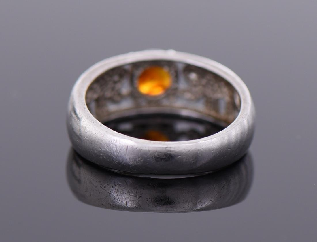 Natural Amber Sterling Silver Ring, Marked NV, 8, - 2