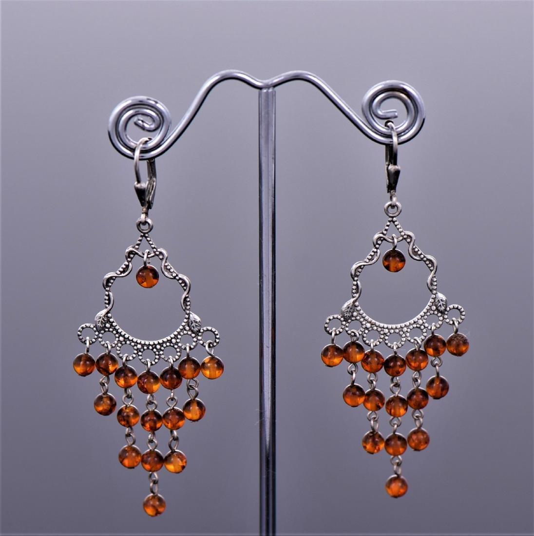 Amber Sterling Silver Art Deco Cascading Drop Earrings