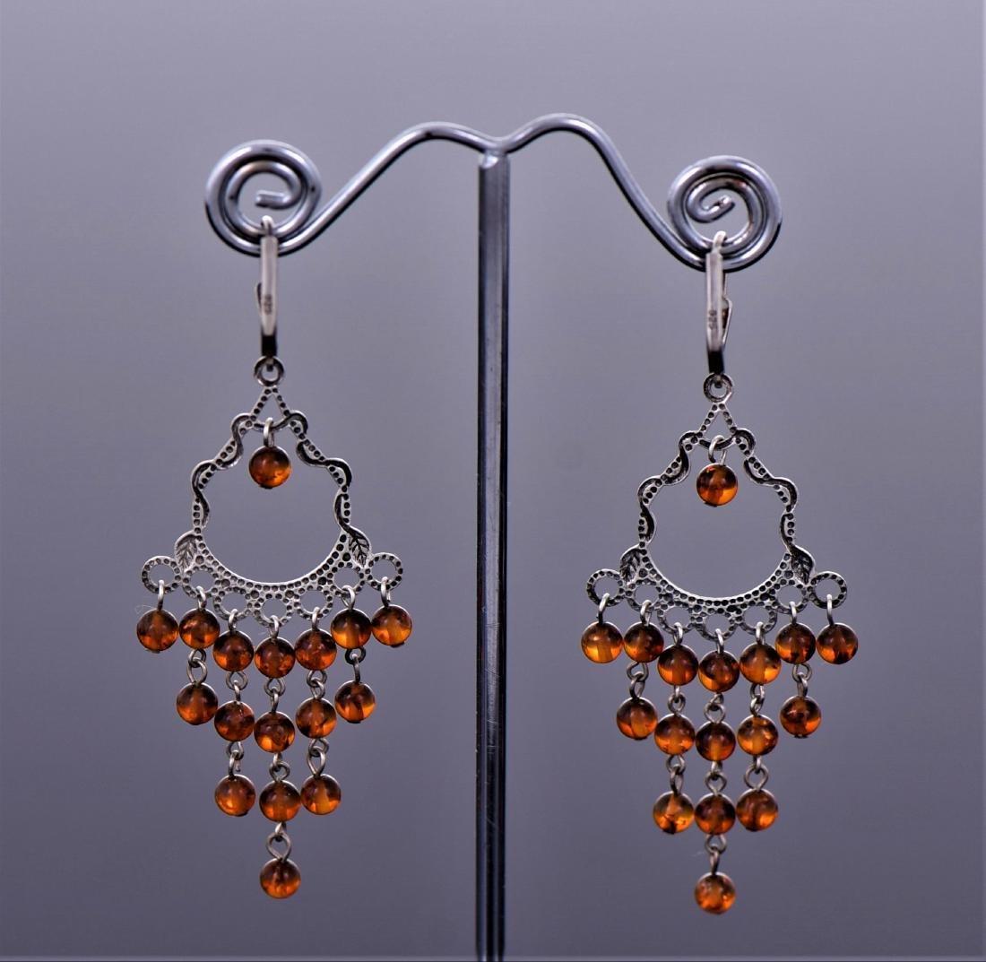 Amber Sterling Silver Art Deco Cascading Drop Earrings - 2