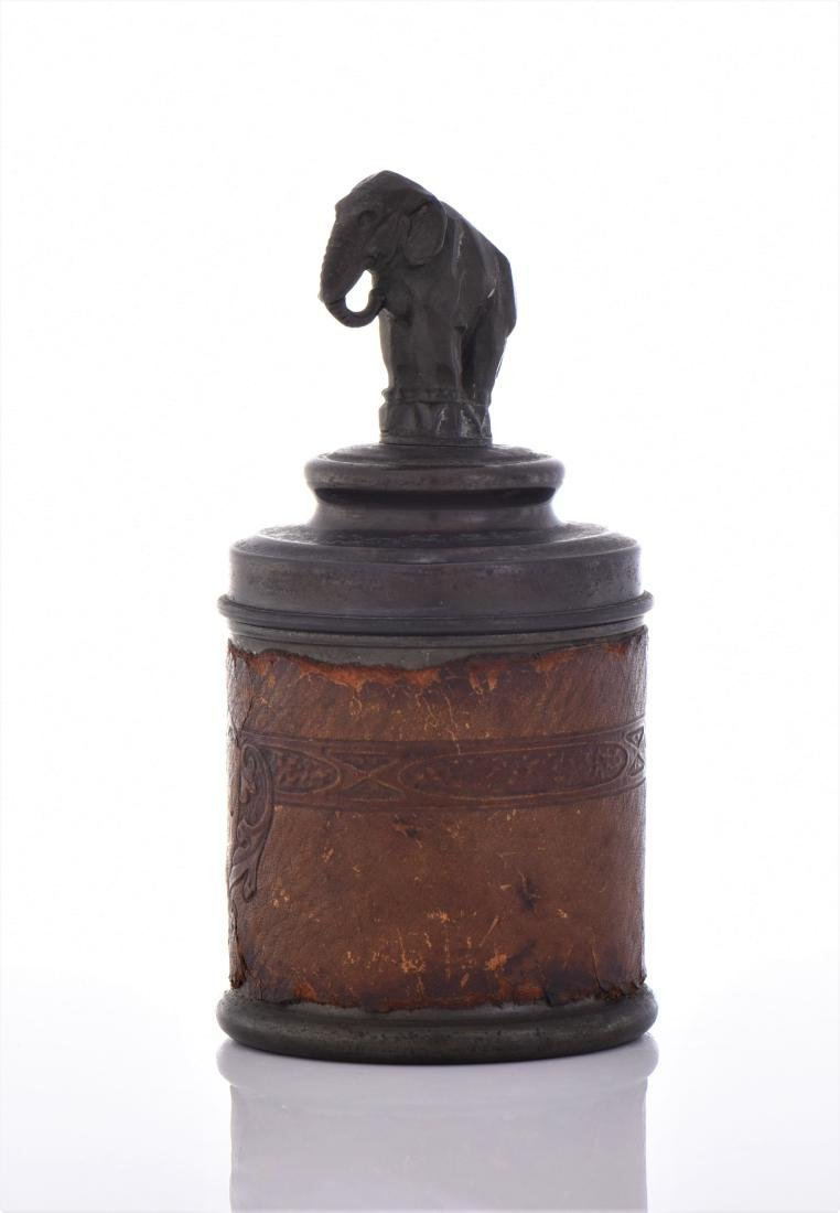 Cigarette Tin Caddy With An Art Deco Elephant - 4