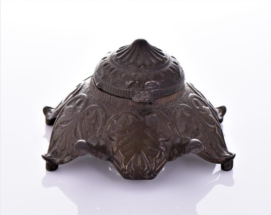 Antique Art Nouveau Bronze Inkwell.