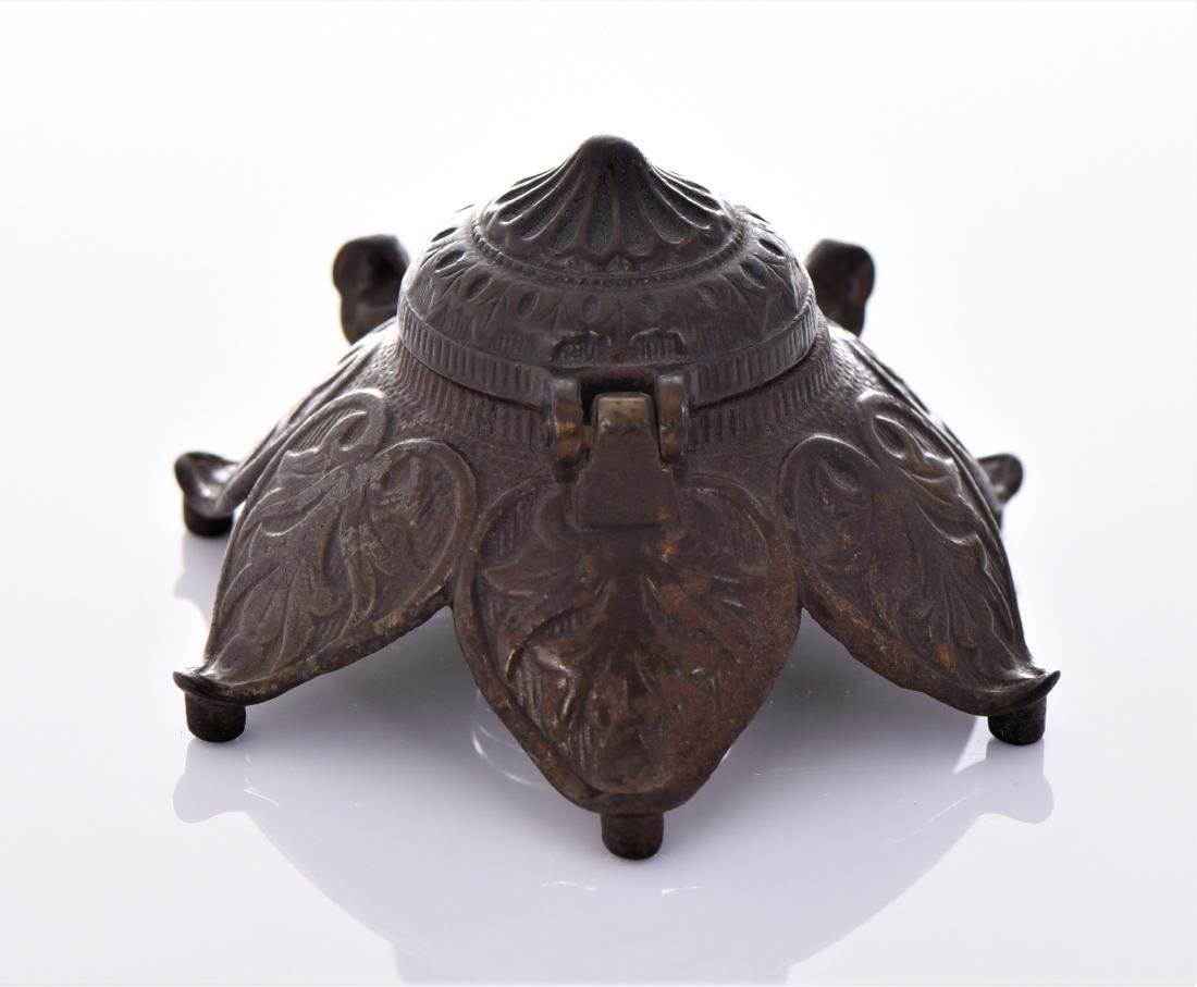 Antique Art Nouveau Bronze Inkwell. - 3