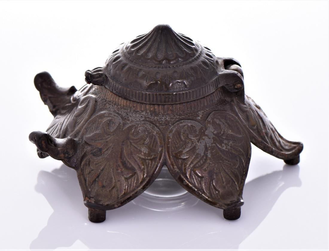 Antique Art Nouveau Bronze Inkwell. - 4