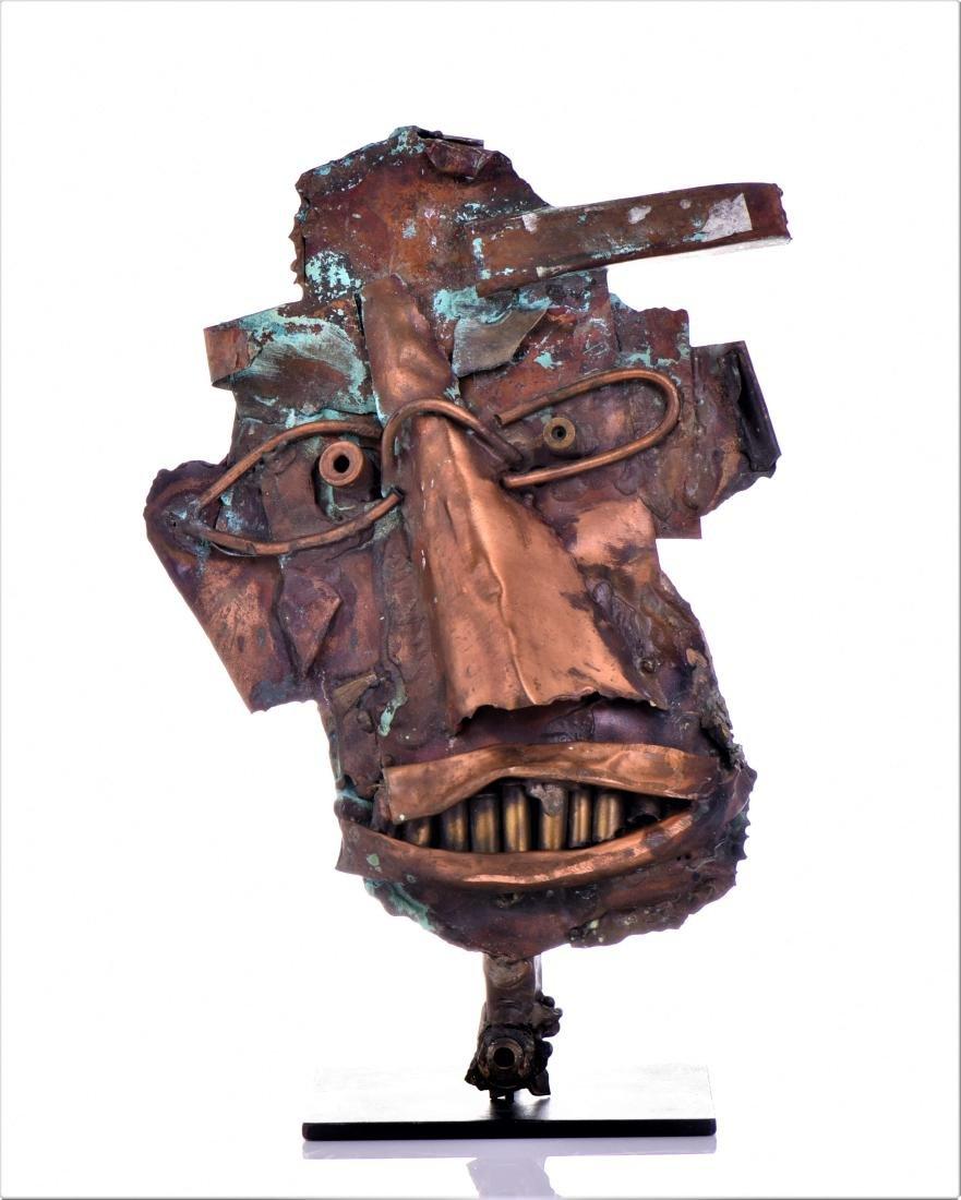 Vintage Copper Steam Punk Face Sculpture.