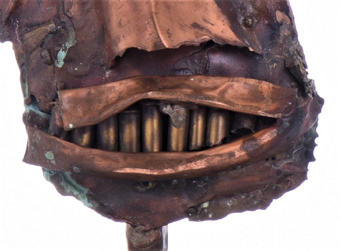 Vintage Copper Steam Punk Face Sculpture. - 5