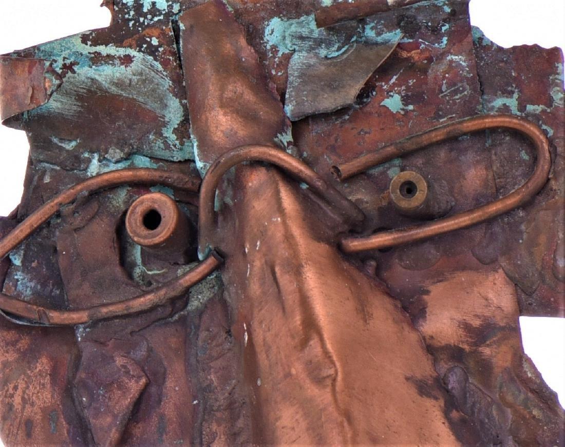 Vintage Copper Steam Punk Face Sculpture. - 6