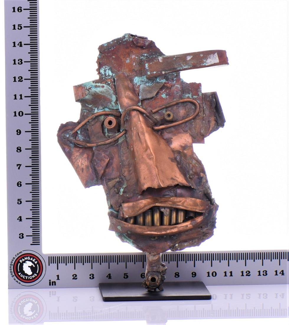 Vintage Copper Steam Punk Face Sculpture. - 8
