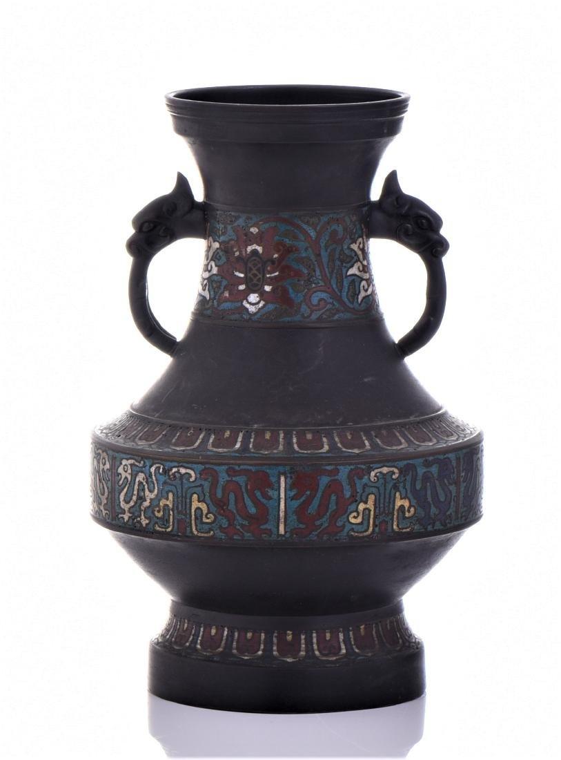 Antique Chinese Bronze Champleve Enamel Urn - 3