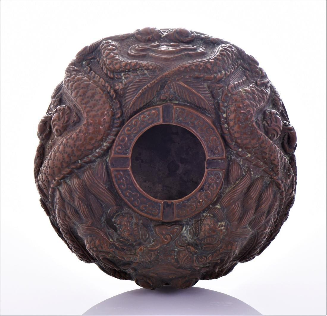 Rare Antique Chinese Pressed Copper Ashtray Depict - 5