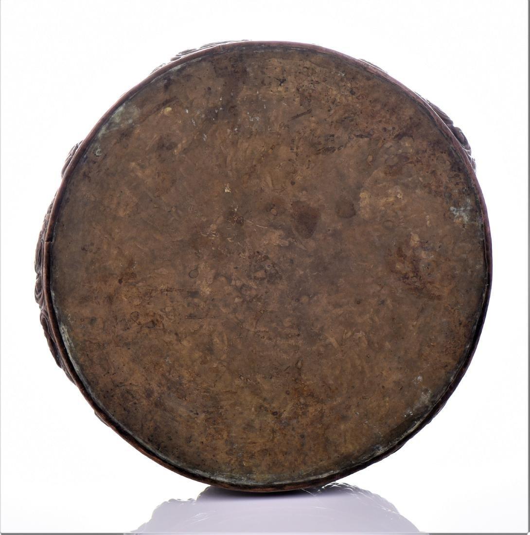 Rare Antique Chinese Pressed Copper Ashtray Depict - 6