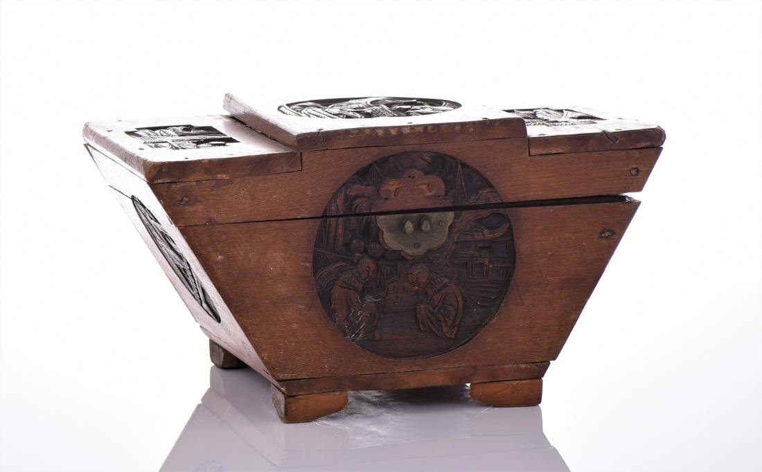 Antique Chinese Wood Carved Tea Caddy. A tea caddy