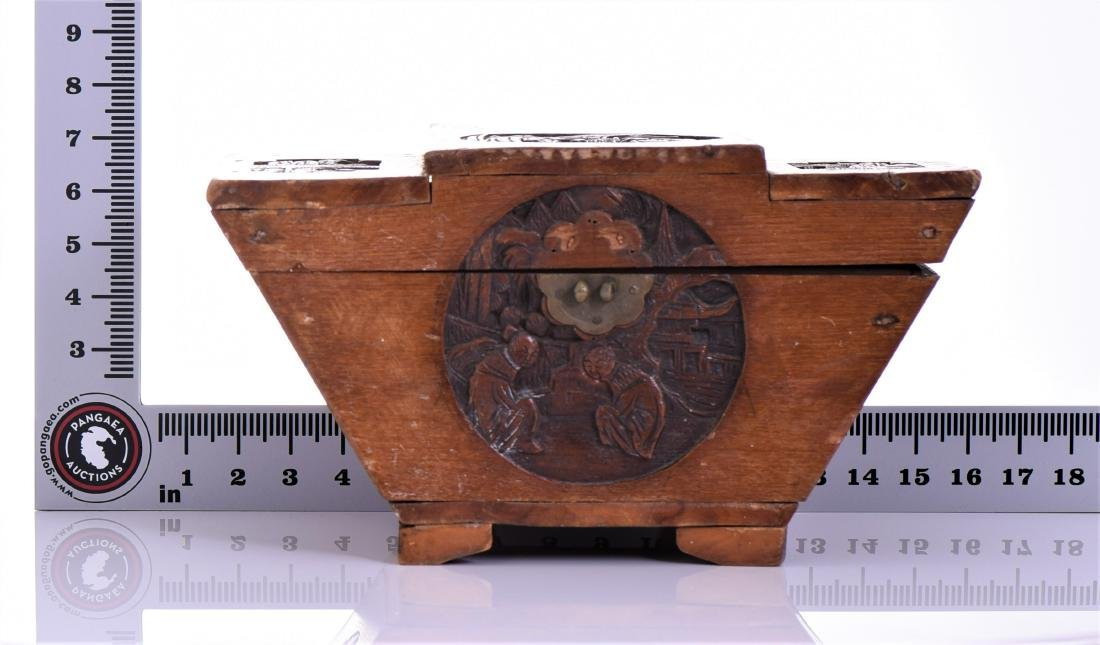 Antique Chinese Wood Carved Tea Caddy. A tea caddy - 8