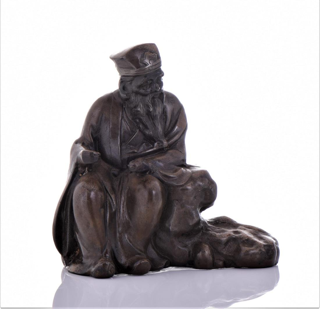 Vintage Chinese Bronze of A Seated Scholar.