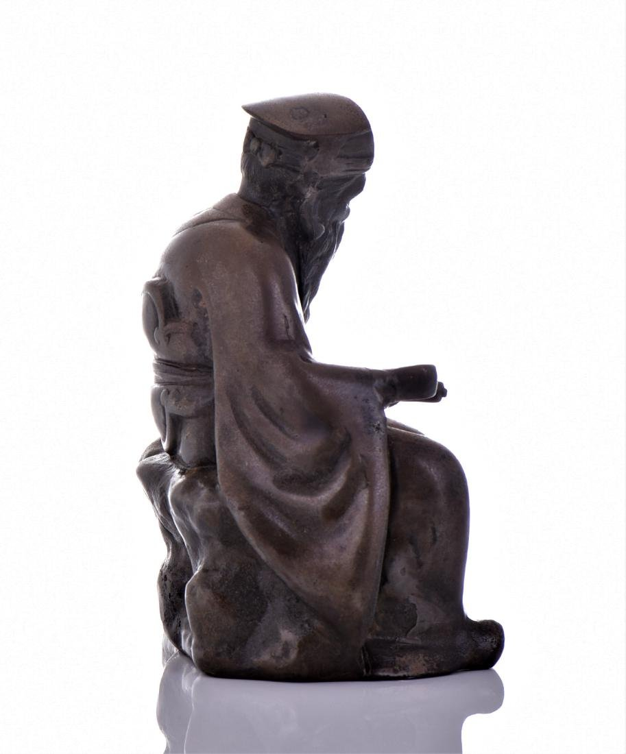 Vintage Chinese Bronze of A Seated Scholar. - 2