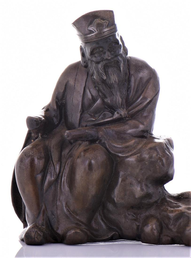 Vintage Chinese Bronze of A Seated Scholar. - 5