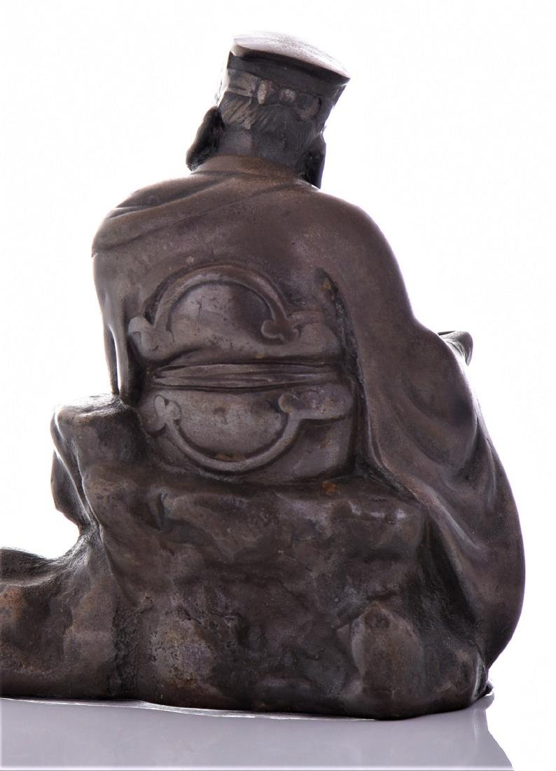 Vintage Chinese Bronze of A Seated Scholar. - 6
