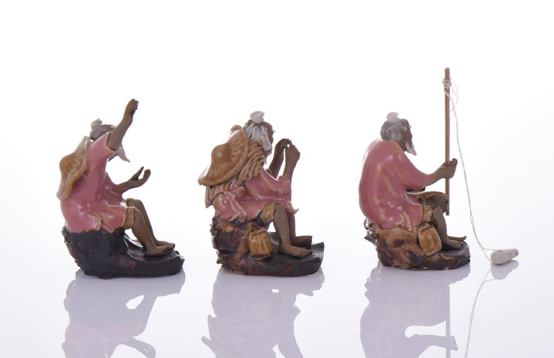 Three Chinese Mud Men Glazed Figures of Fishermen. - 2
