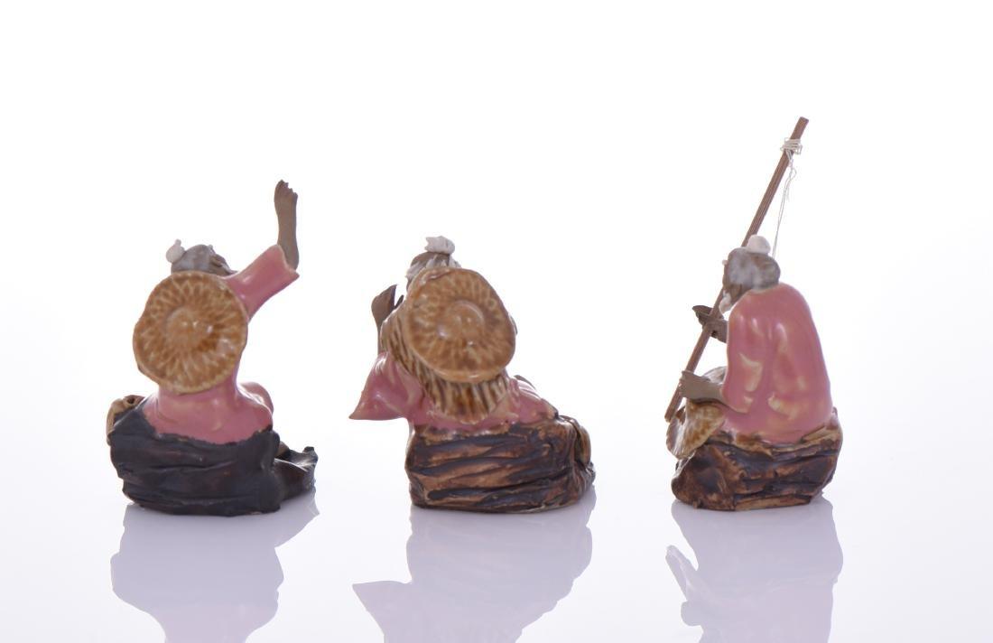 Three Chinese Mud Men Glazed Figures of Fishermen. - 3