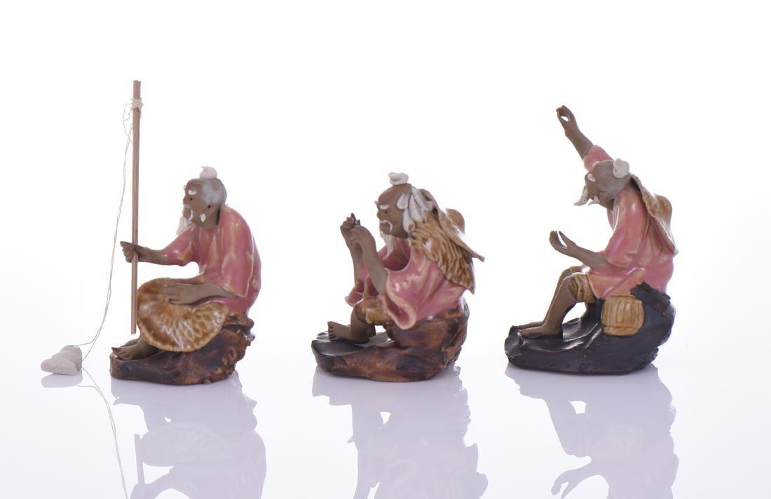 Three Chinese Mud Men Glazed Figures of Fishermen. - 4