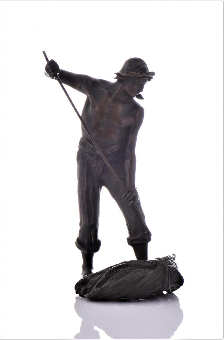 Antique French Bronze Sculpture of A Farmer Baling