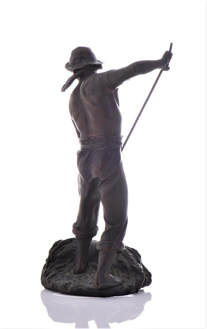 Antique French Bronze Sculpture of A Farmer Baling - 4