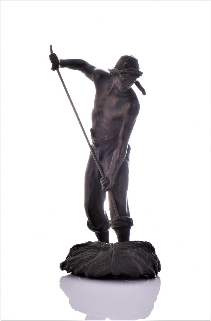 Antique French Bronze Sculpture of A Farmer Baling - 8