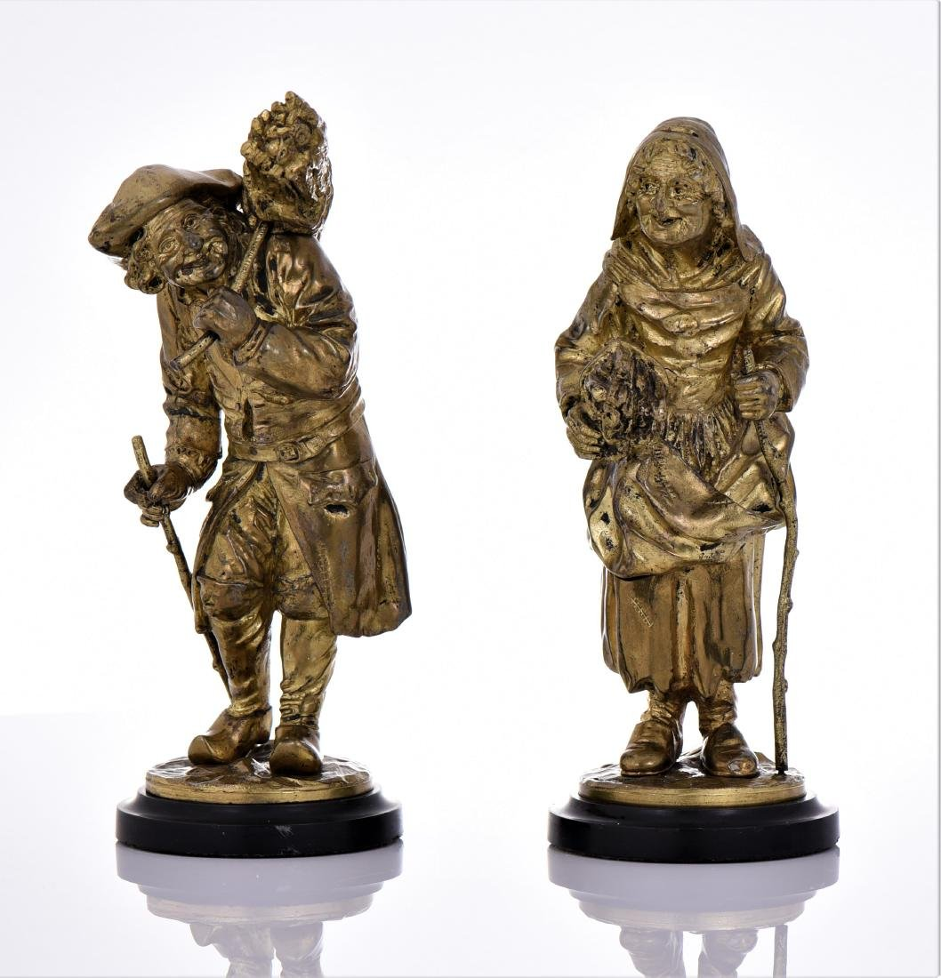 Two Antique Brass Villager Sculptures of A Man And