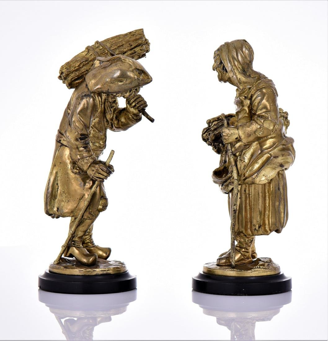 Two Antique Brass Villager Sculptures of A Man And - 2