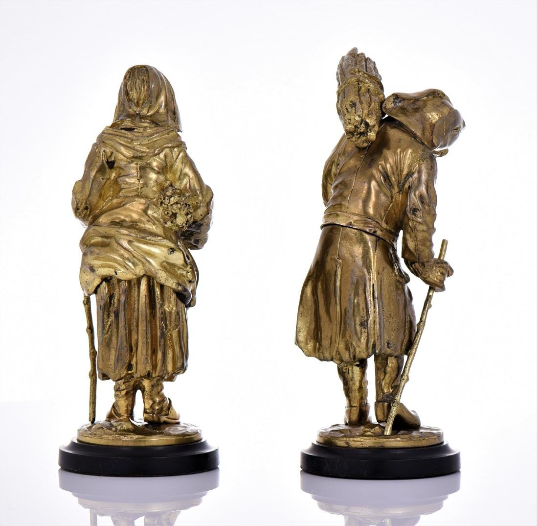 Two Antique Brass Villager Sculptures of A Man And - 3