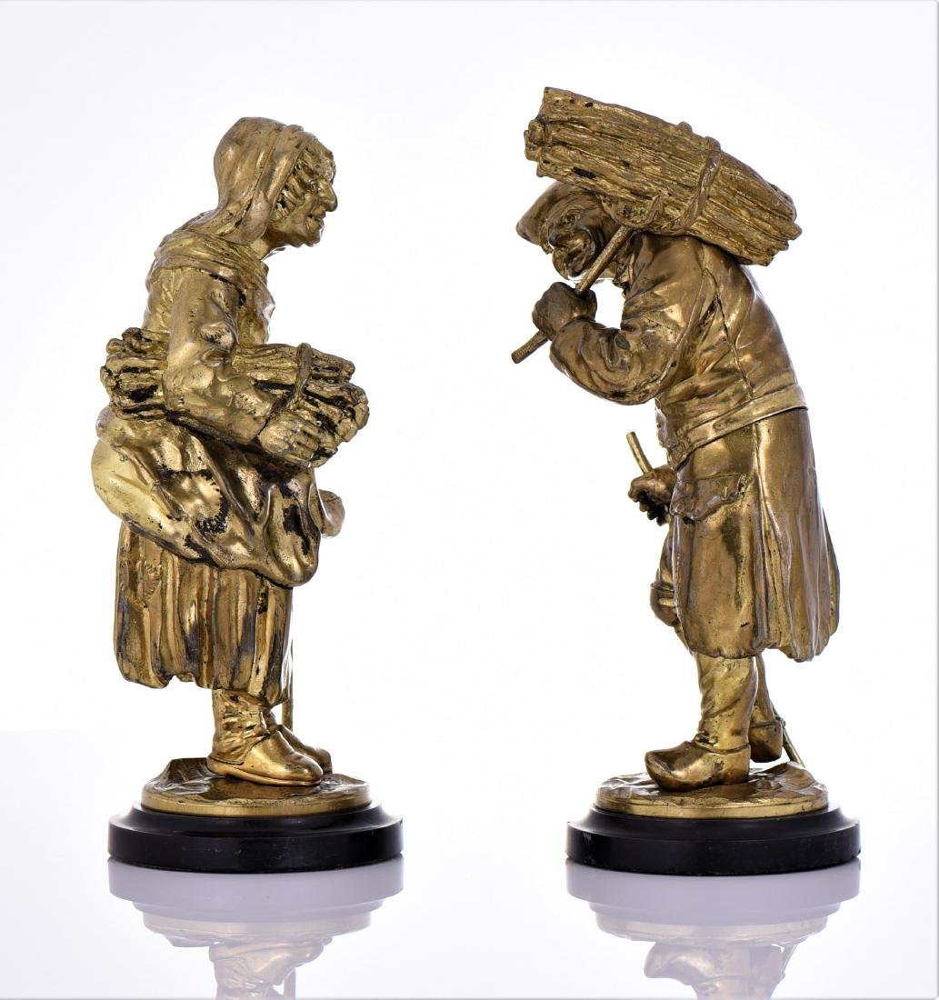 Two Antique Brass Villager Sculptures of A Man And - 4