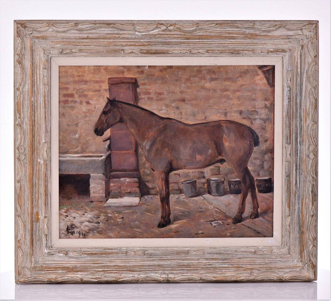 1901 English Painting of A Horse, Oil On Canvas.