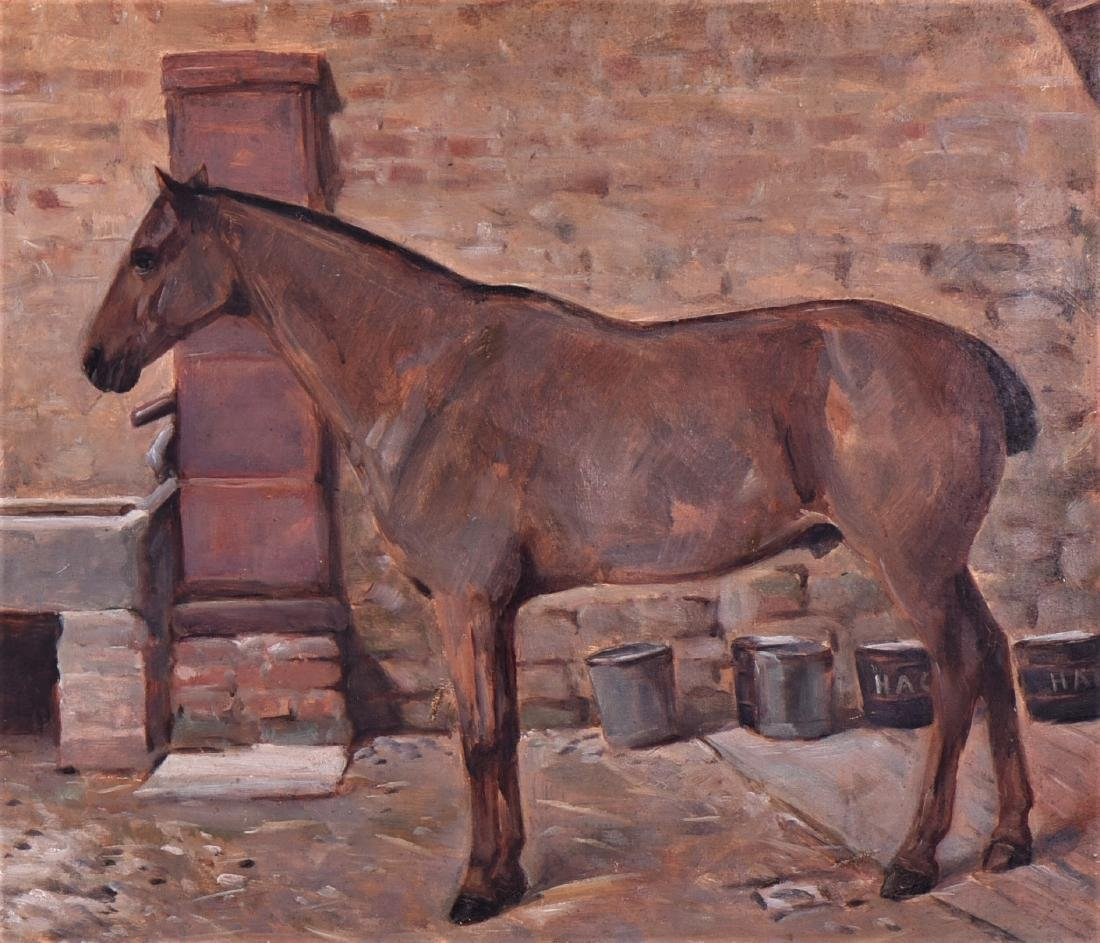 1901 English Painting of A Horse, Oil On Canvas. - 2