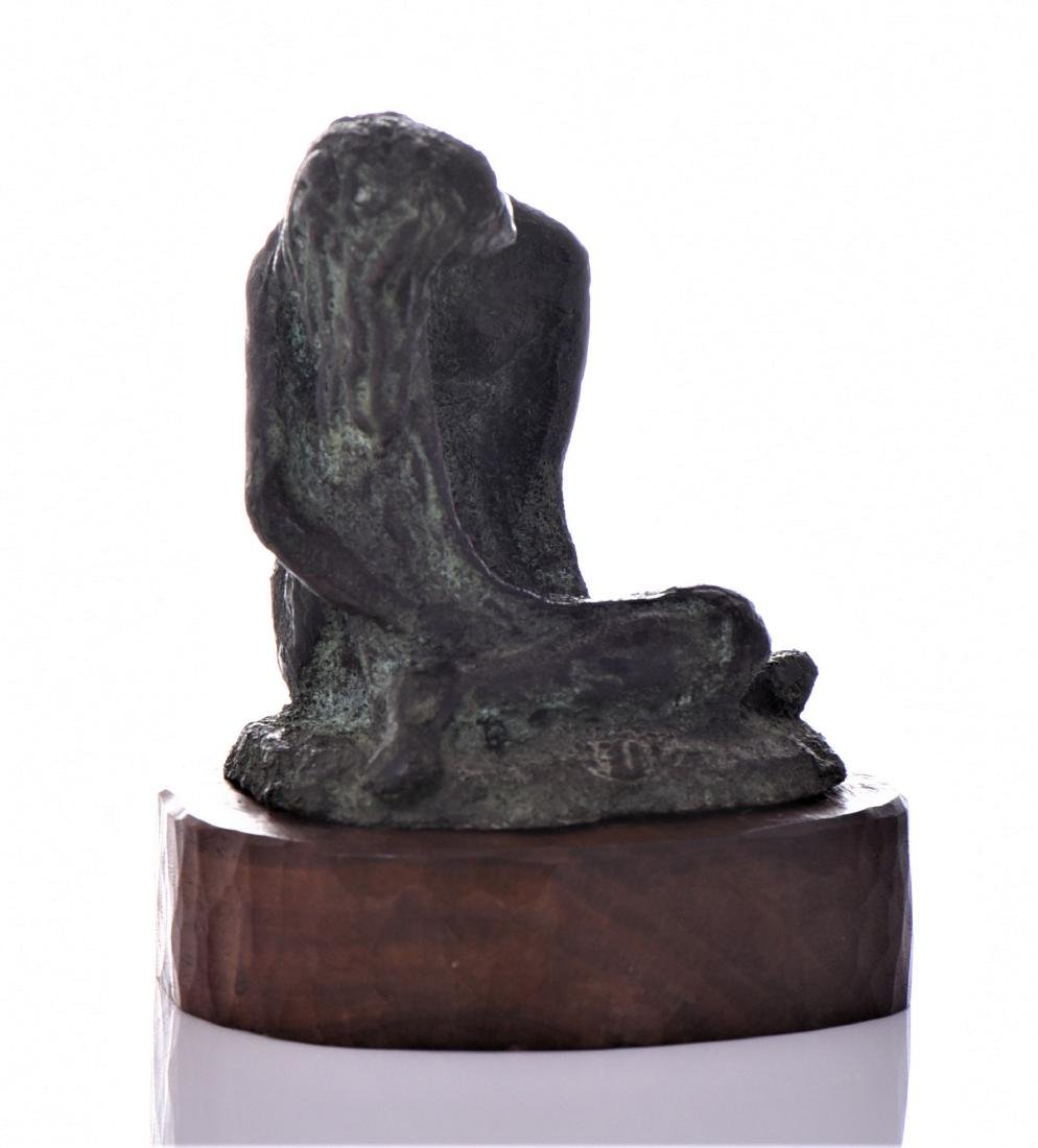 Mid Century Bronze Seated Nude With Green Patina - 2
