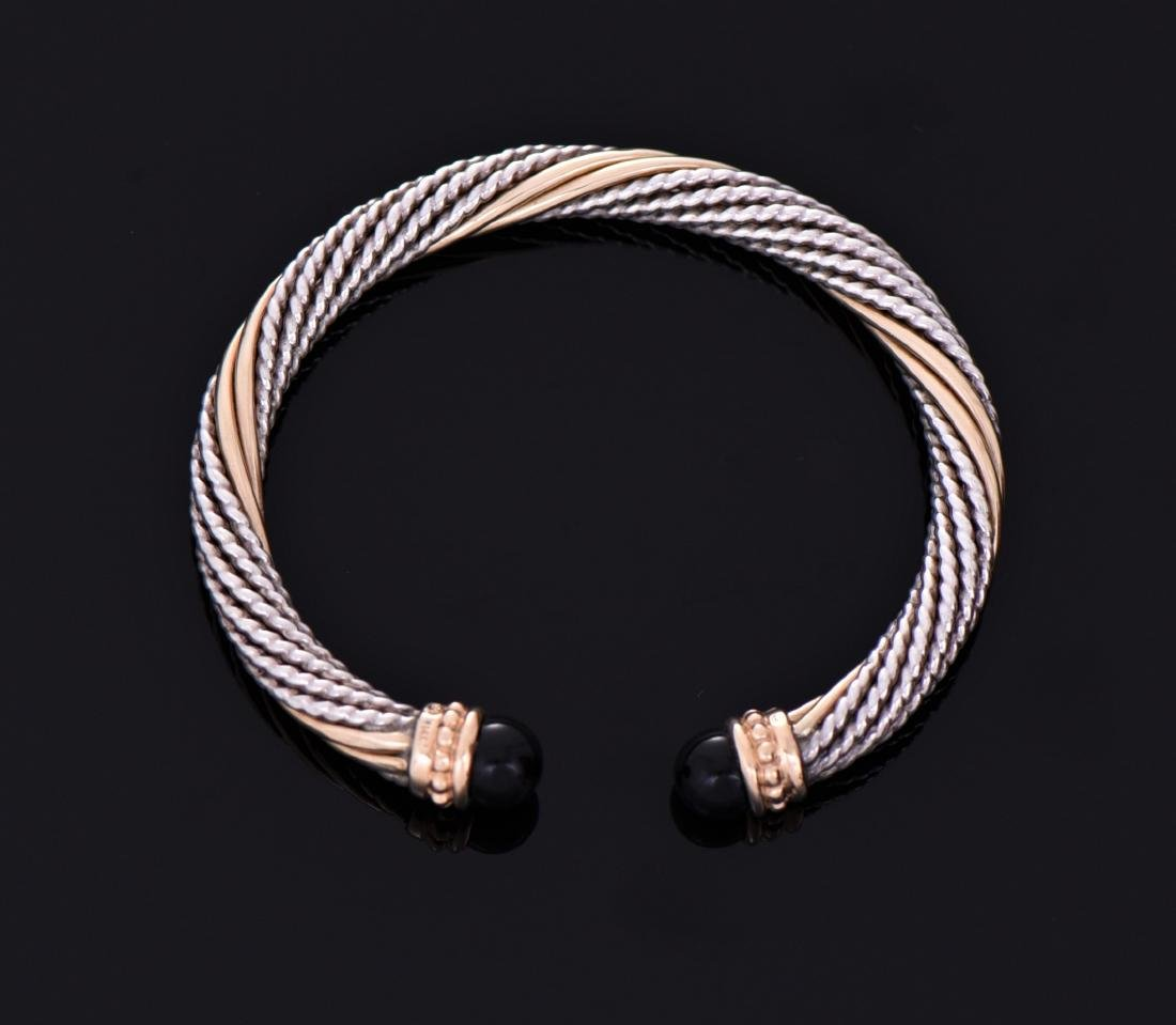 14K Gold Rod And Sterling Silver Rope Bangle With - 2