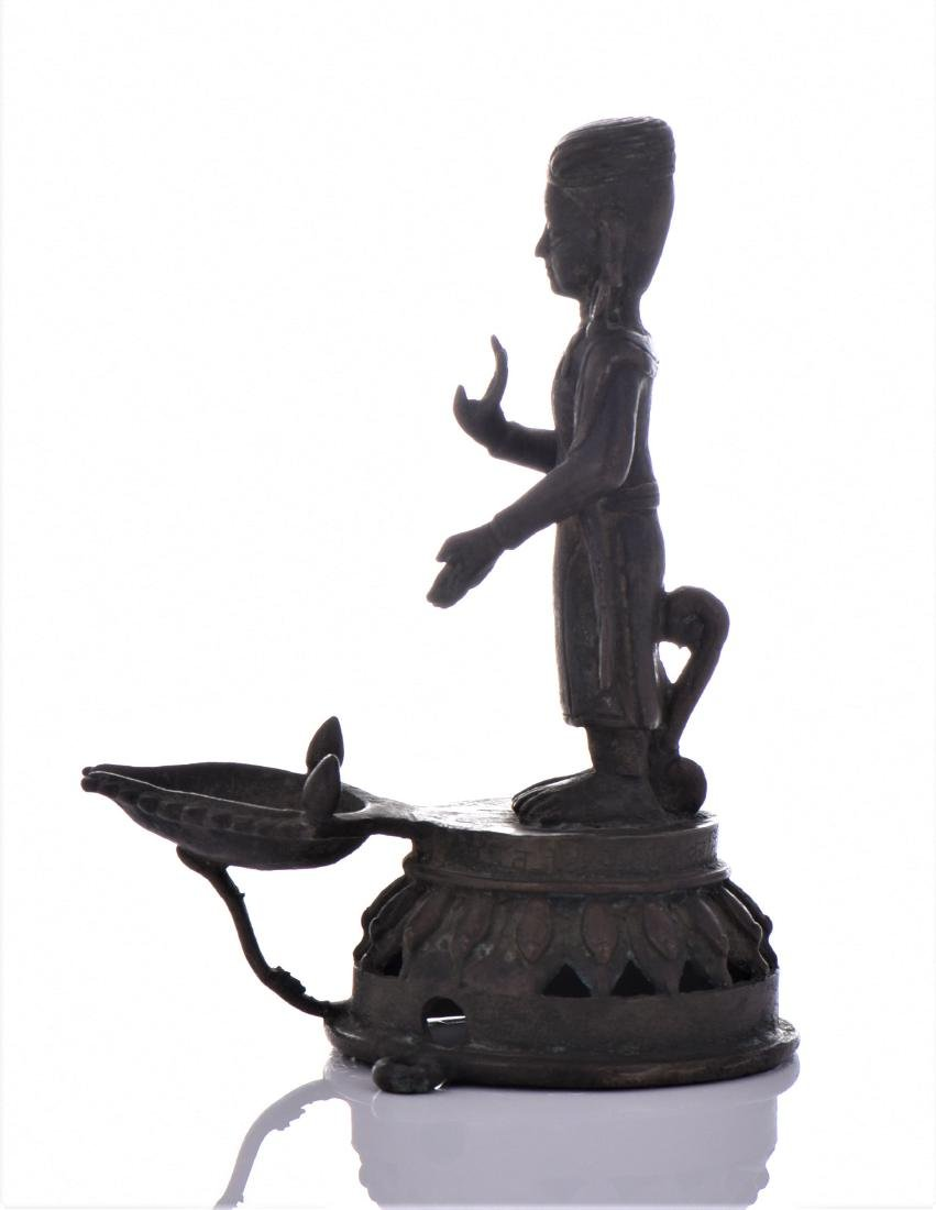 A Rare Antique Bronze Indian Aarti Lamp. Aarti, Or - 4