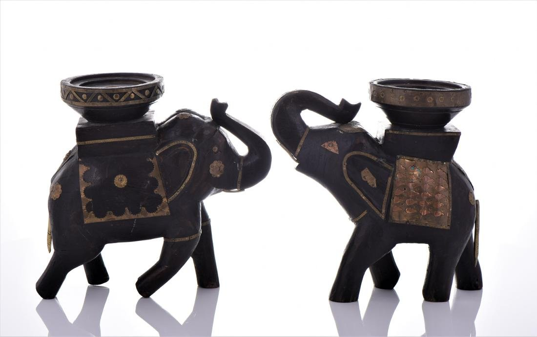 Two Vintage Indian Heavy Wood And Brass Elephant