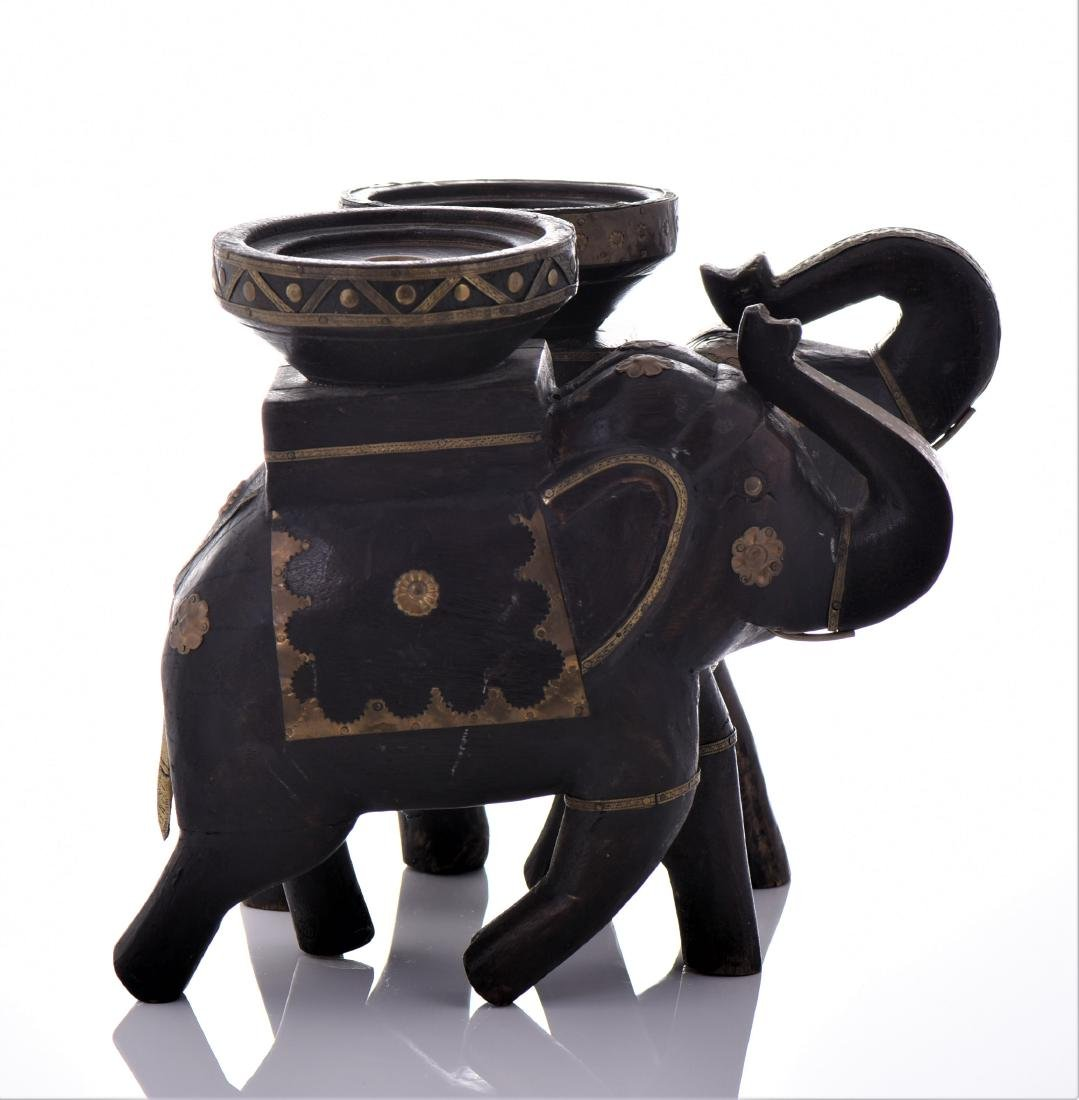 Two Vintage Indian Heavy Wood And Brass Elephant - 4