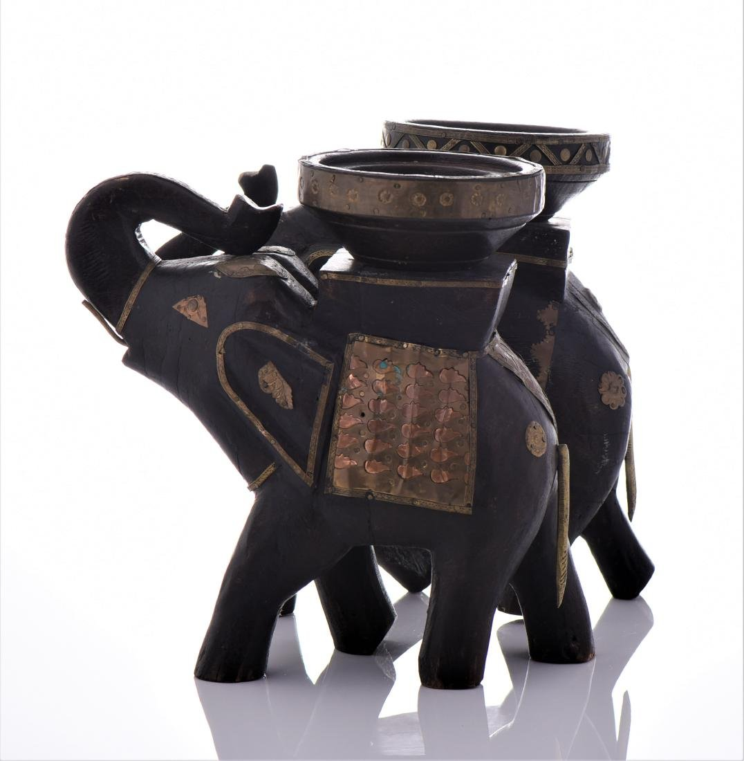 Two Vintage Indian Heavy Wood And Brass Elephant - 6